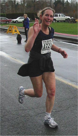2003 Comox Valley Half Marathon - Christine Thate happy to see the finish
