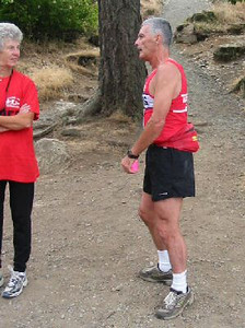 2003 Gutbuster Mount Doug - Bob Reid at the summit, pre-running the course