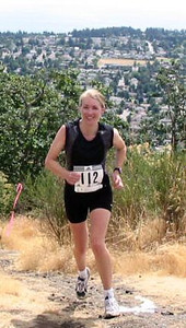 2003 Gutbuster Mount Doug - Leah Abernethy with Gordon Head in the background.  Who's Gordon?