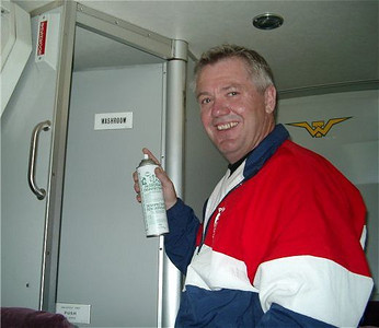 2003 Merville 15K - Bus trip organizer Randy Jones has everything under control