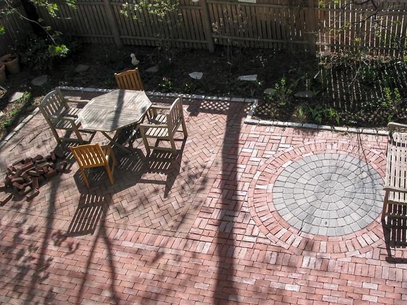 Back yard with new brickwork