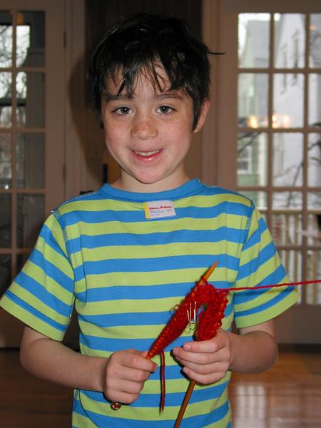 Benjamin with knitting
