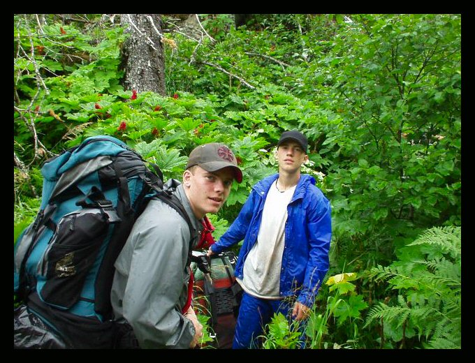 """Ben and Tim Bates and the Alaskan jungle, in the early stages of working our way up """"Impossible Mountain"""" on the Kenai Peninsula."""