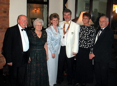 Top table guests at Brigg Lions 35th charter anniversary dinner held at the White Heather Caenby Corner, left to right, Ken and Olive O'Neill, District Governor Bill Ella and his wife Janet, Jennie Selby and president of Brigg Lions Tony Ellerby.