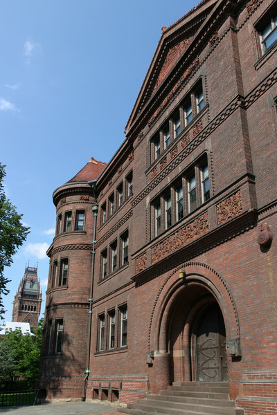 Sever Hall: west facade, with Ware and Van Brunt's Memorial Hall to the left