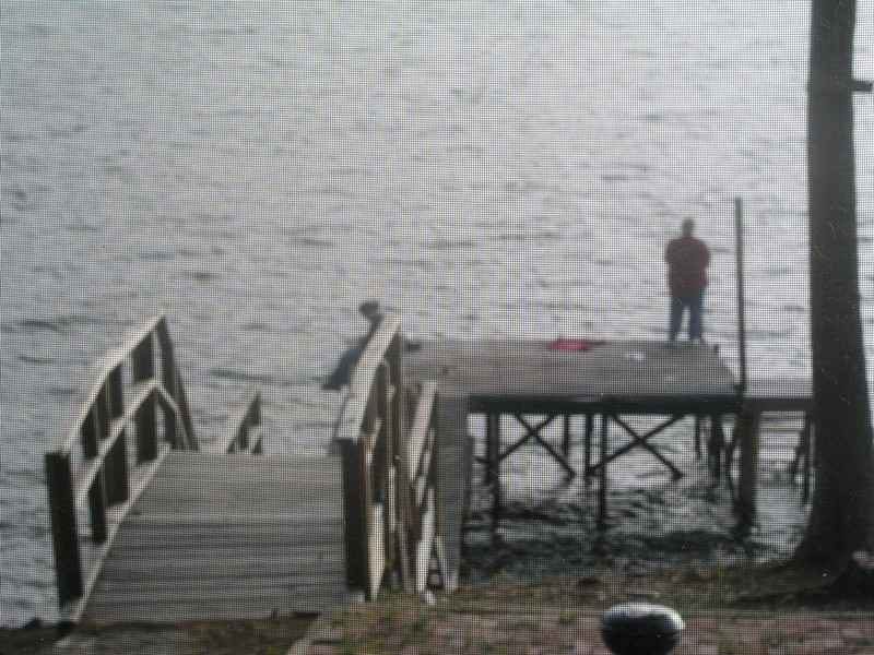 Cathy fishing on the dock at (probably) Martin Lake, AL
