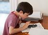 Benjamin doing summer homework