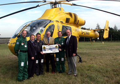 The Isle of Axholme Lions recently presented a cheque for £2000 to The Lincs and Notts Air Ambulance based at RAF Waddington. The president of the Isle Lions Alan Holgate, third left is pictured presenting the cheque with fellow Lions members Terry Condliff, second left and Phil Ashworth, right to air crew who man the helicopter at the Lincolnshire base.