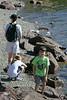 Chantal, Isabel, and Benjamin on the shore