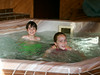Benjamin and Isabel soaking in the motel hot tub after dinner.