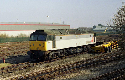 Nearing the end of its six-month stay as the resident 'shunter', 47197 is pictured at Freightliner's Leeds (Stourton) Terminal. The loco returned to normal traffic shortly afterwards with the company's Heavy Haul division (16/03/2003)