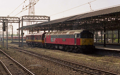 47756 'Royal Mail Tyneside' is seen arriving at Crewe with the Pinnox Branch saloon, which was running regularly at the time between Crewe and Longport for road-learning purposes (17/04/2003)