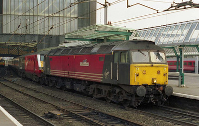 47810 'Porterbrook' is pictured on arrival at Carlisle with the SuO 1S63 Euston-Glasgow, which it had worked forward from Preston via the S&C (16/02/2003)