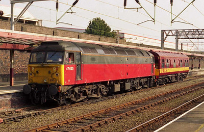 47635 (soldiering on as EWS' only surviving '47' without long-range fuel tanks) is seen at Crewe with the Pinnox Branch saloon (18/04/2003)