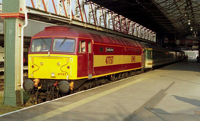 An immaculate 47757 'Capability Brown' calls at Chester with 1G95 0648 Holyhead-Birmingham. The loco had recently received life-extending 'reliability modifications' and a repaint into 'EWS' livery (12/04/2003)