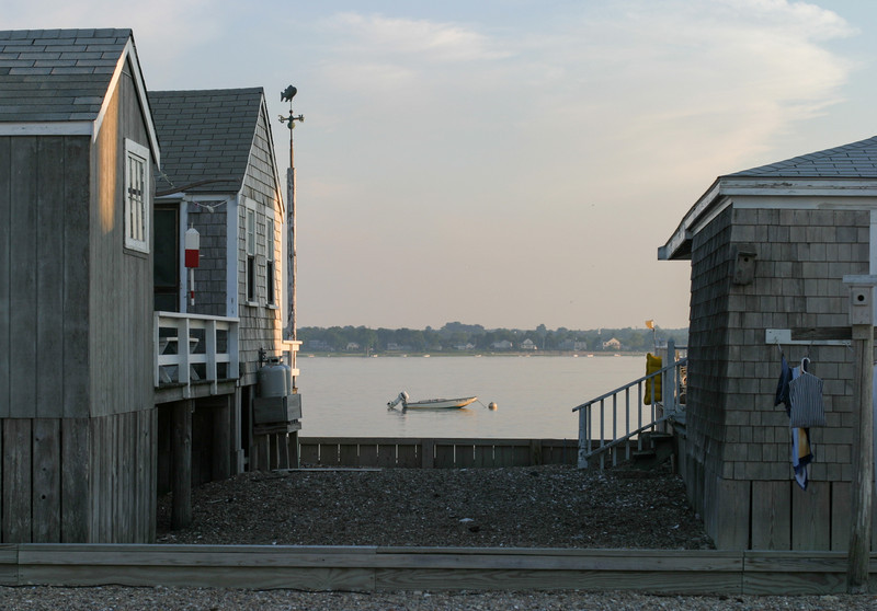 Cottages and boats in the evening