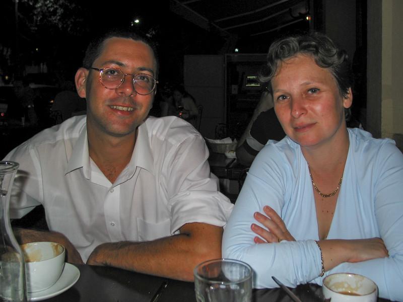 Friends Alon and Hila in a bistro