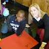 Project Muse volunteer Laurel Porcelli works with Josephs, PS64.<br /> Date: 11.09.2004<br /> From Shuttlefly, low res<br /> by: Flora Rodriguez, Archivist<br /> Location: V: Photos