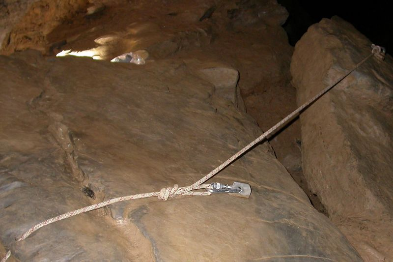 The final rigging of the Warm-Up Pit.  There are two permanent bolts drilled in stone that we anchored to.