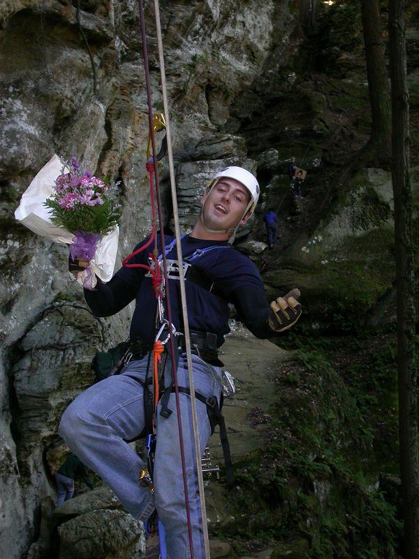 Nick(aka Father Nikolai) taking the flowers back to the top.