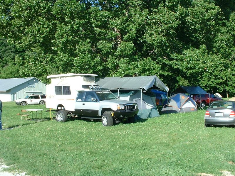 "The camping area was located at our local fairgrounds about 1/3 of a mile from the youth center.  Again,  I don't have a photo that shows it all, but suffice it to say, there was quite the ""Village""  of tents and campers!"