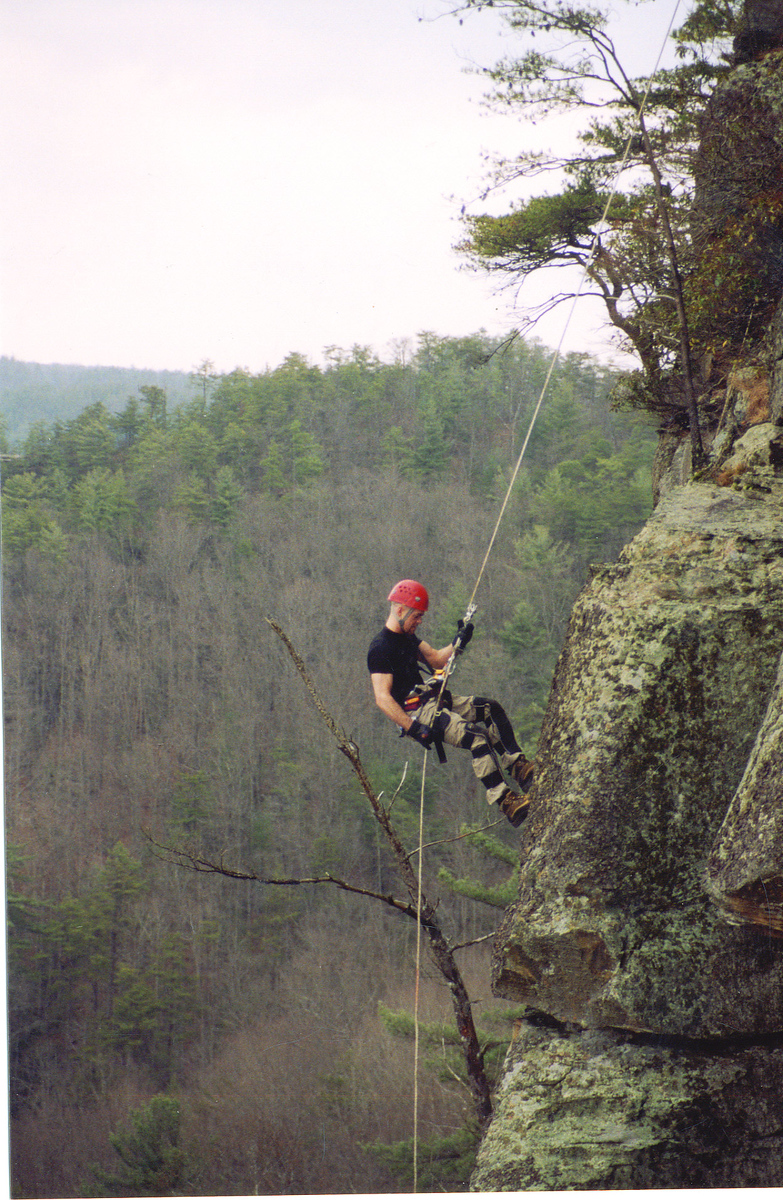 Chimney Top.  This drop is around 200 feet.