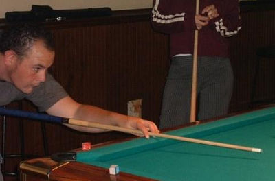 Bryan Playing Pool... & Me in the background with my nervous habbit...