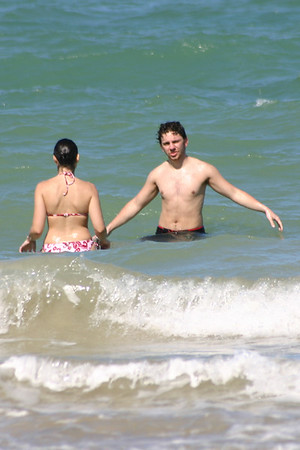 Isa and Andy in the water