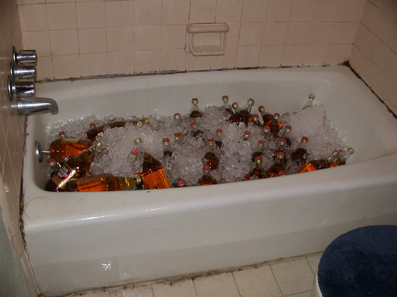 The traditional bathtub full of 40s