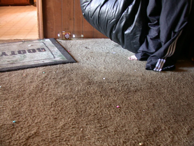 By lifting the beanbag, one can see the effect of the night's festivities on the carpet