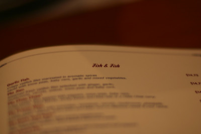 Some fun entries from the Thai restaurant's menu: Fish & Fish