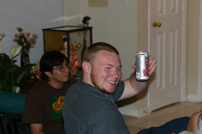 Matt enjoys his beverage