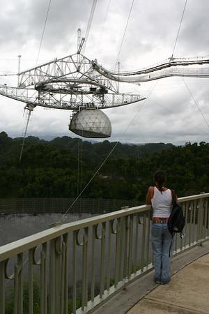Michelle admires the Arecibo Observatory on a non-pretty day