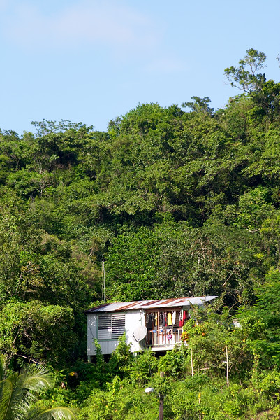 This nestled wooden shack seems to imply poverty, but a DirecTV antenna suggests otherwise