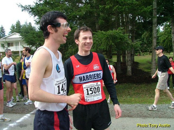 2004 Cedar 12K - David Matte and Ian Hallam share a laugh before the race