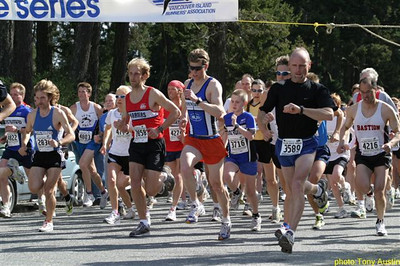 2004 Sooke River 10K - Todd Healy checks his watch at the start
