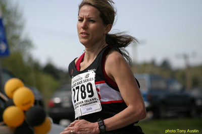 2004 Sooke River 10K - Helena Watling finishing up her training for the Boston Marathon