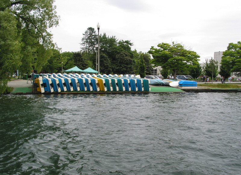 Green Lake: stacked boats