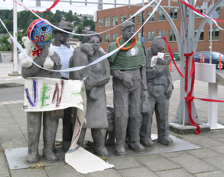 "Fremont: ""Waiting for the Interurban"", the street sculpture is frequently dressed up"