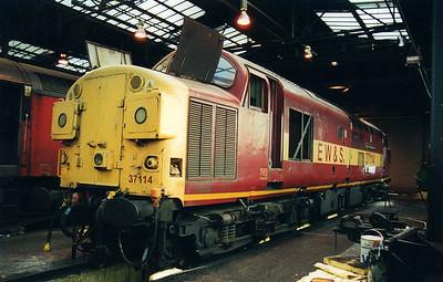 37114 'City of Worcester' inside Crewe Diesel Depot  12/01/01.