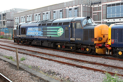 DRS 37423 'Spirit of the Lakes' stabled at York in the Parcel sidings  06/07/13.