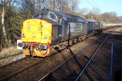 37194 on the rear of 1032/1z20 Crewe-Ely Papworth Sidings pass Bayford on Pathfinders 'The Deviationer ' Railtour 11/01/14.