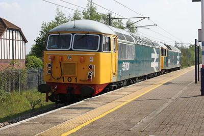 47580_56101 1420-0z56 Dereham-Hitchin OTP Depot head south through Knebworth to run round at Welwyn.G.City 20/04/11