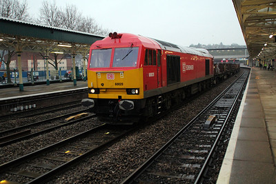 60020  0735/6H23 Margam-Llanwern passes Newport 22/03/13.