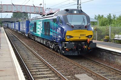 68001 'Evolution' 1748/4D47 Inverness-Mossend passes Whifflet  16/07/15.