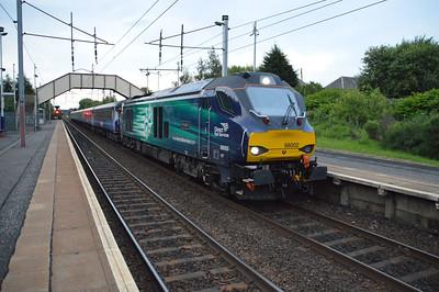 68002 'Intrepid' 2050/5z92 Edinburgh-Mossend ECS passes Holytown  16/07/15.