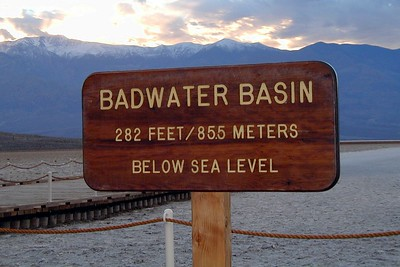 Badwater (more than 5000 feet below Dante's View. 282 ft - 85 m below sea level).