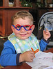 """Joey in pipe-cleaner """"glasses"""""""