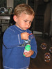 Joey blowing bubbles