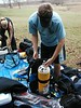 Dustin is getting his gear put together so we can complete our first open water dive to get certified.
